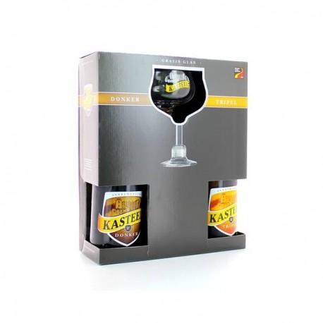 Gift pack Kasteelbier - Donker + Tripel 750cc + Copa de regalo