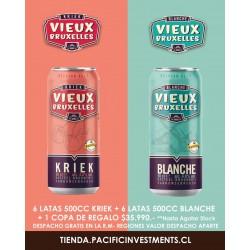 Kriek Vieux Bruxelles + Blanche Vieux Bruxelles 500 cc -  Caja 12 Cervezas + 1 Copa de regalo